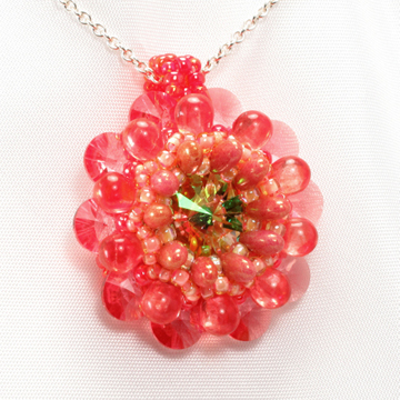orange tropical dahlia pendant
