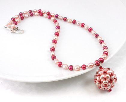 disco ball pink pearls necklace