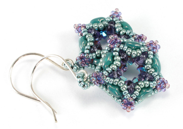 fiberoptic dodecahedron turquoise earrings