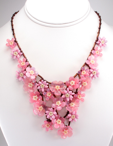 sakura bouquet necklace